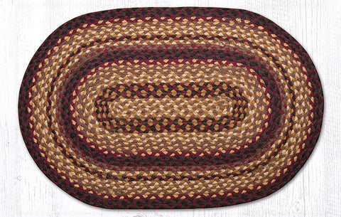 C-371 Black Cherry, Chocolate and Cream Braided Rug Oval / 20