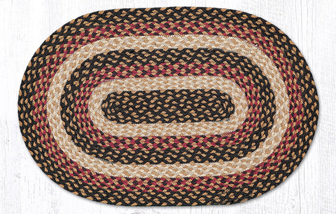 C-774 Burgundy, Black and Dijon Braided Rug