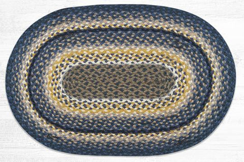 C-790 Deep Blue/Golden Rod/Cream Braided Rug