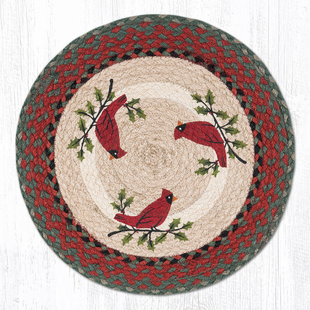 PM-RP-025 Holly Cardinal Round Placemat