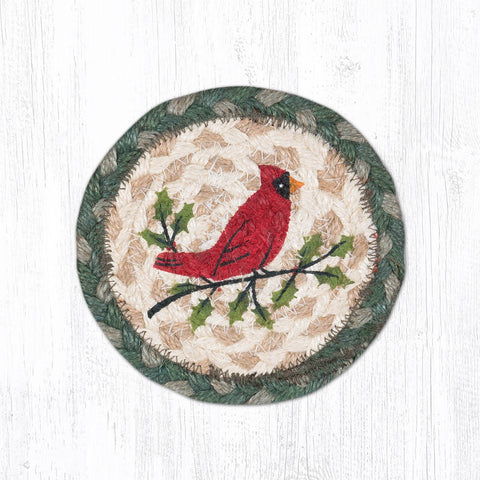 IC-025 Holly Cardinal Individual Coaster