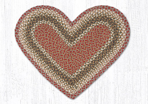 C-024 Olive, Burgundy and Gray Braided Rug Heart / 20