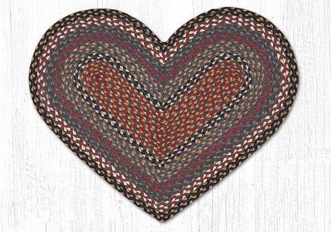 C-043 Burgundy, Blue and Gray Braided Rug Heart / 20