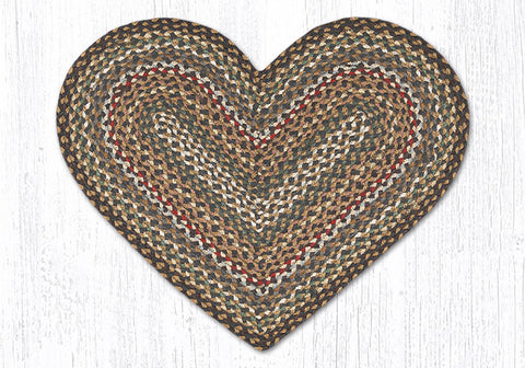 C-051 Fir and Ivory Braided Rug Heart / 20
