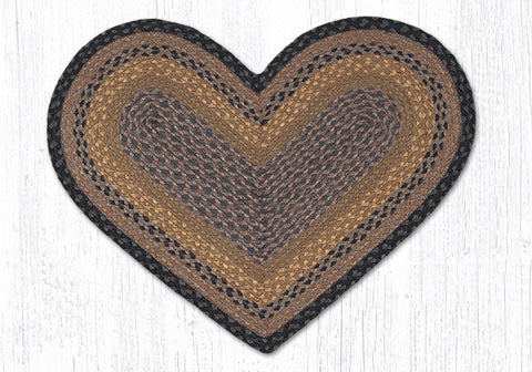 C-099 Brown, Black and Charcoal Braided Rug Heart / 20