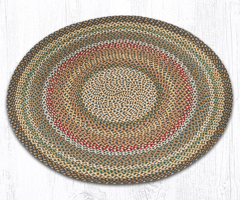 C-051 Fir and Ivory Braided Rug Round / 4'x4'