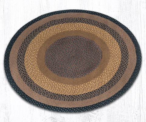 C-099 Brown, Black and Charcoal Braided Rug Round / 4'x4'