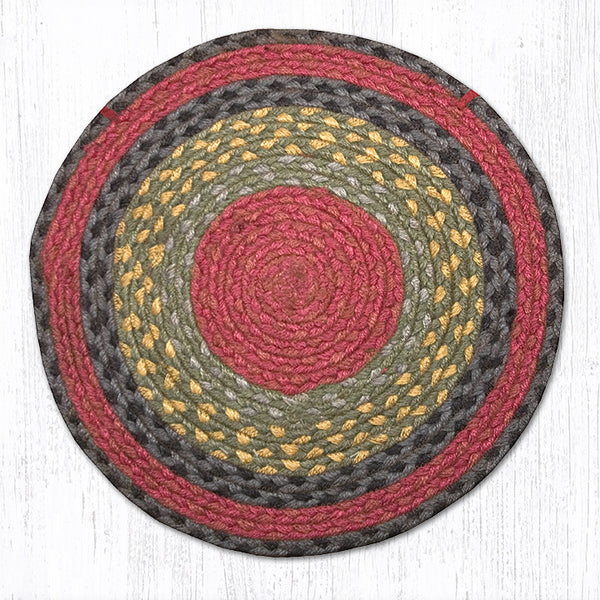 CH 238 Burgundy Olive Charcoal Chair Pad The Braided Rug
