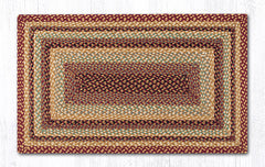 C-357 Burgundy, Gray and Cream Braided Rug