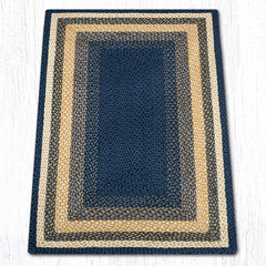 C-079 Light Blue, Dark Blue and Mustard Braided Rug