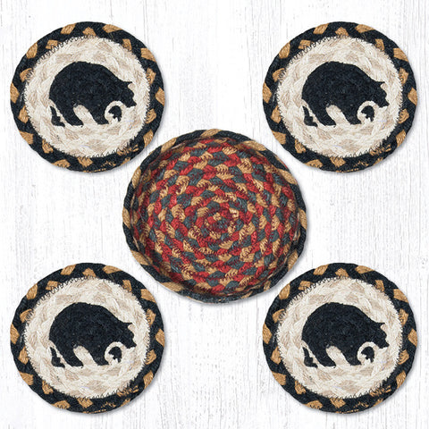 CNB-043 Black Bear Coasters In A Basket