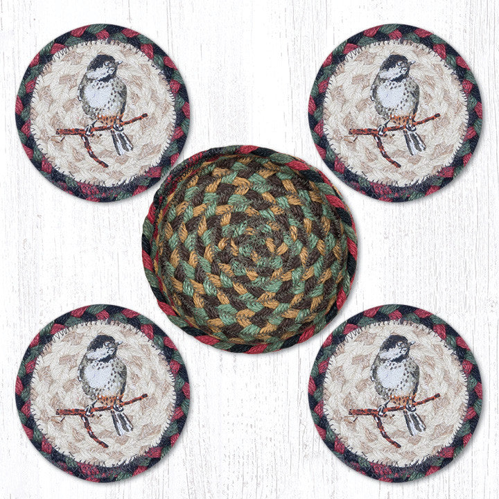 CNB-081 Chickadee Coasters In A Basket