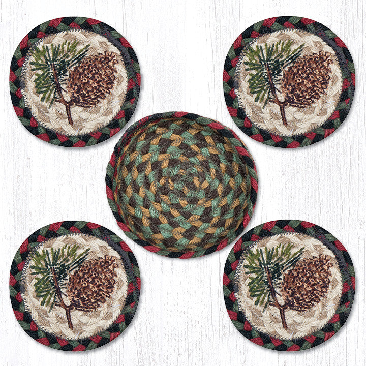 CNB-081 Pinecone Coasters In A Basket