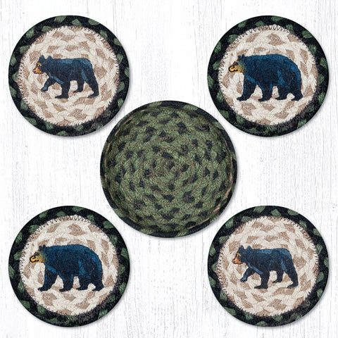 CNB-116 Mama and Baby Bear Coasters In A Basket