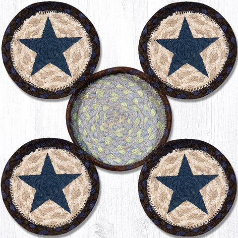 CNB-312 Blue Star Coasters In A Basket