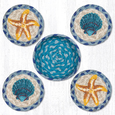 CNB-378 Star Fish Scallop Coasters In A Basket