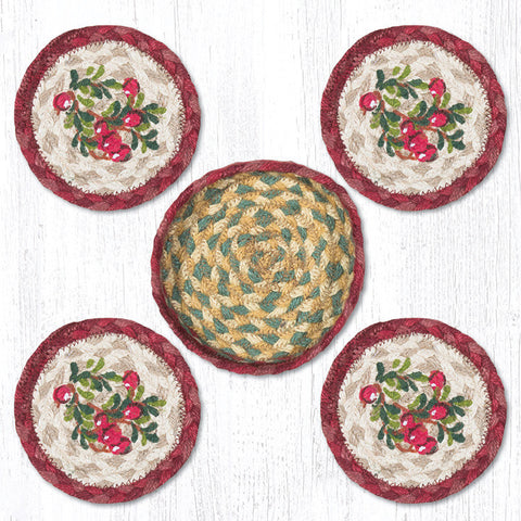 CNB-390 Cranberries Coasters In A Basket