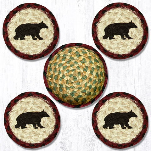 CNB-395 Cabin Bear Coasters In A Basket