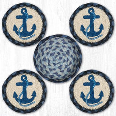 CNB-443 Navy Anchor Coasters In A Basket