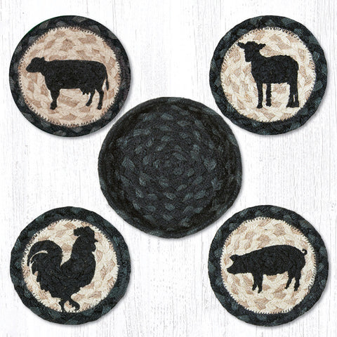 CNB-459 Barnyard Animals Coasters In A Basket