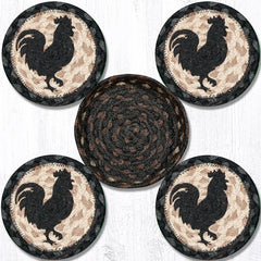 CNB-459 Rooster Silhouette Coasters In A Basket