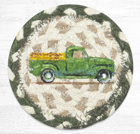 IC-338 Vintage Green Truck Individual Coaster