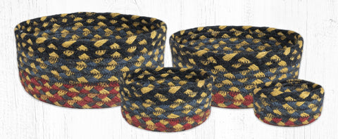 CB-043 Burgundy/Blue/Gray Braided Baskets