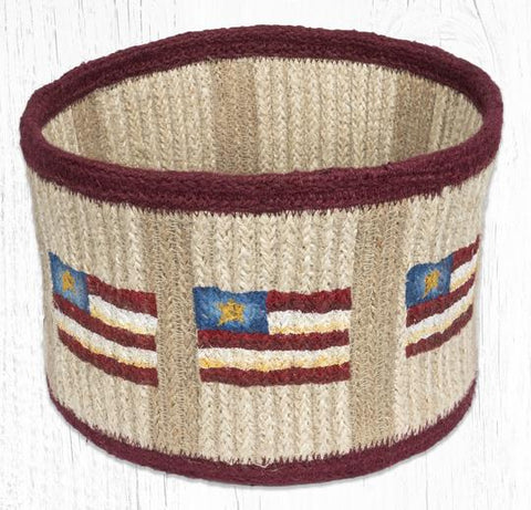 RNB-02 Primitive Star Flag Natural Rope Braided Basket 9