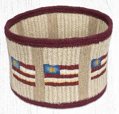 "RNB-02 Primitive Star Flag Natural Rope Braided Basket 9""x7"""