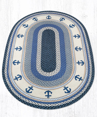OP-443 Anchor Oval Rug 4'x6' Oval