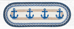 TR-443 Navy Anchor Oval Table Runner