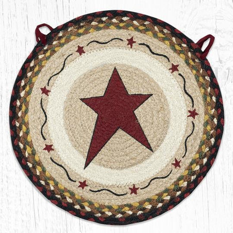 CH-019 Primitive Star Burgundy Chair Pad