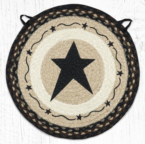 CH-313 Primitive Star Black Chair Pad