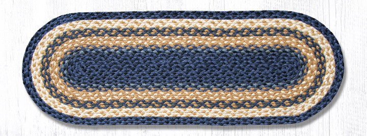 TR-079 Light Blue/Dark Blue/Mustard Jute Table Runner