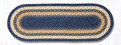 C-079 Light Blue/Dark Blue/Mustard Jute Table Runner