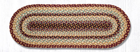 TR-357 Burgundy/Gray/Cream Jute Table Runner
