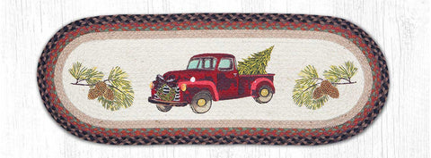 TR-530 Christmas Truck Oval Table Runner