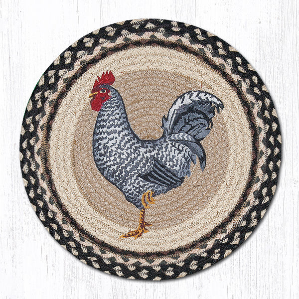 Pm Rp 430 Rooster Round Placemat The Braided Rug Place