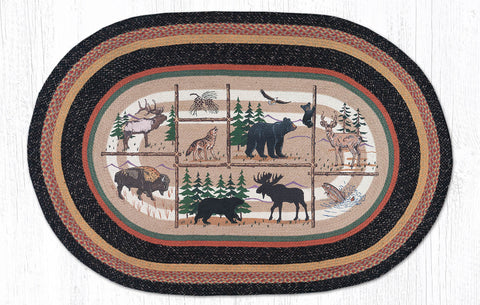 OP-583 Lodge Animlas Oval Rug 4'x6' Oval