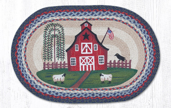 Op 015 Barn Scene Oval Rug The Braided Rug Place