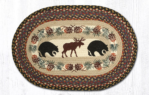 OP-043 Bear Moose Oval Rug