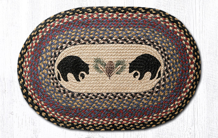 OP-043 Black Bears Oval Rug