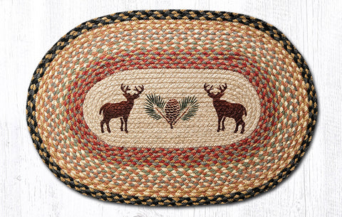 OP-057 Deer/Pinecone Oval Patch Rug