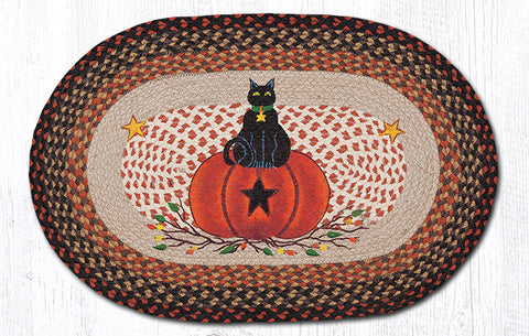 OP-222 Black Cat Pumpkin Oval Rug