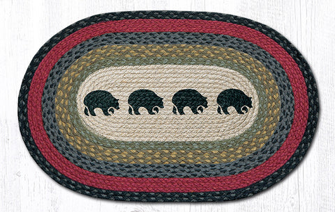 OP-238 Black Bears Oval Rug