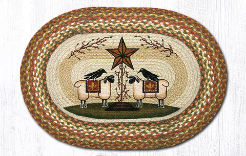 OP-300 Sheep & Barn Star Oval Rug