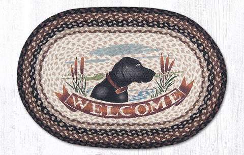 OP-313 Welcome Dog Oval Rug