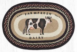 OP-344 Farmhouse Cow Oval Rug