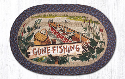 OP-355 Gone Fishing Oval Rug