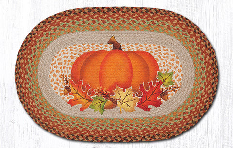 OP-438 Pumpkin Leaf Oval Patch Rug